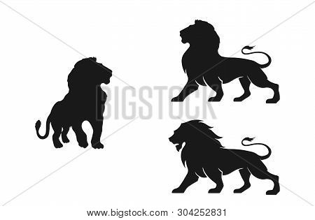 Lion Silhouette Set. Isolated Vector Images Of Wild Animals. Courage, Valor And Power Symbols