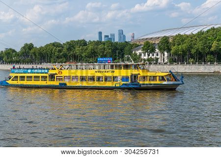 Moscow, Russia -may 28.2019. Moscow 46 - Pleasure Boat From Shipping Company Scarlet Sails
