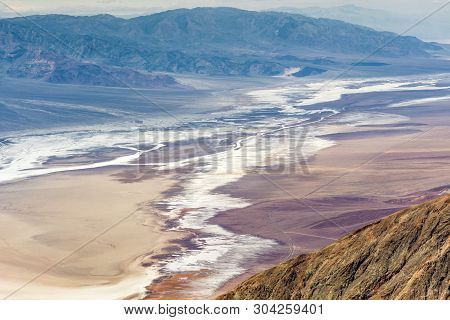 View Of Foggy Badwater Basin From Dante's View Point In Death Valley National Park. California, Usa