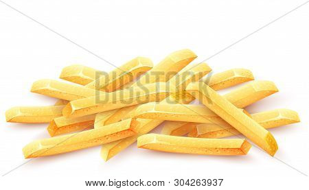 French Fries. Roasted Potato Chips In Deep Fat Fry Oil Potatoes. Yellow Sticks. Fastfood. Unhealthy