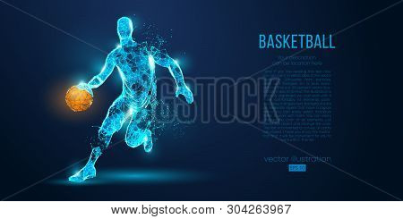 Abstract Basketball Player From Particles, Lines And Triangles On Blue Background. All Elements On A
