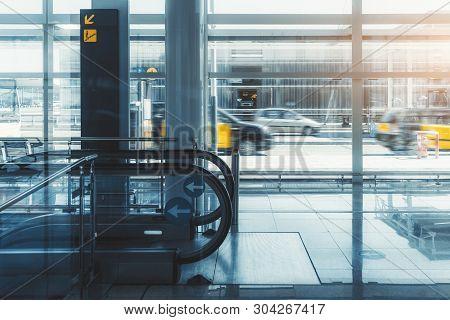 A Modern Reflective Interior Of A Shopping Mall Or A Contemporary Airport Terminal, Or A Railway Sta