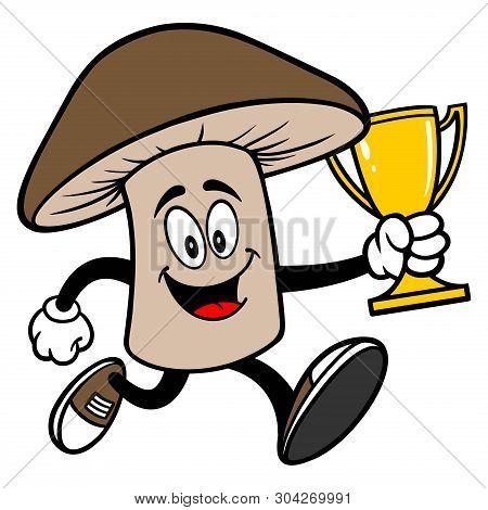 Shiitake Mushroom Running With A Trophy - A Cartoon Illustration Of A Shiitake Mushroom Mascot.
