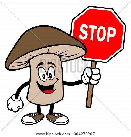 Shiitake Mushroom With A Stop Sign - A Cartoon Illustration Of A Shiitake Mushroom Mascot.