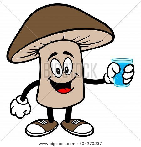 Shiitake Mushroom With A Glass Of Water - A Cartoon Illustration Of A Shiitake Mushroom Mascot.