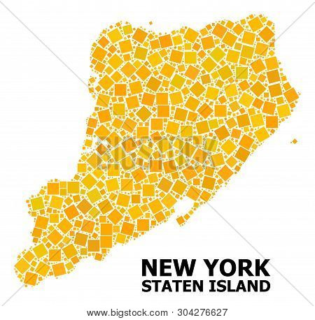 Gold Square Mosaic Vector Map Of Staten Island. Abstract Mosaic Geographic Map Of Staten Island Is O