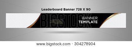Leaderboard Banner 728x90 Black Gold Simple Design Vector-04