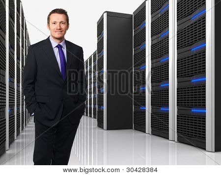 3d image of datacenter with lots of server and man
