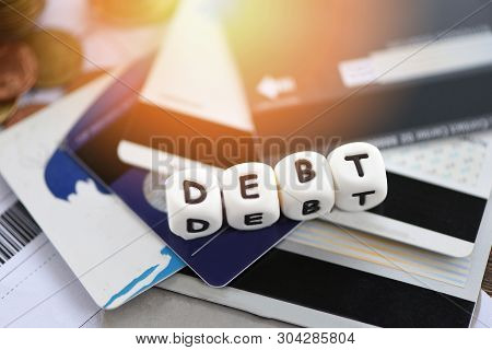 Debt Credit Card / Increased Liabilities From Exemption Debt Consolidation Concept Of Financial Cris