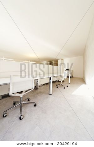 modern office interior design, white furnishings