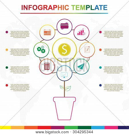 Abstract Tree Infographics Elements. Colorful Infographic Template With 9 Titles, Diagram With Steps