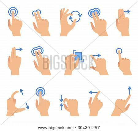 Touch Screen Hand Gestures. Touching Screen Devices Communication, Drag Using Finger Gesture For Pho