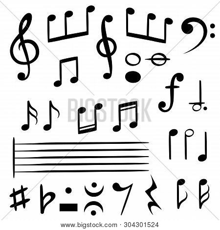 Music Notes. Musical Note Key Silhouette, Treble Clef Sound Melody Art Vector Melodist Symbols