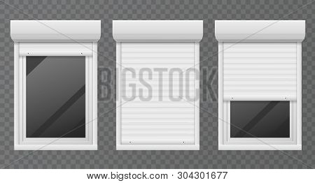 Rolling Shutters. Windows Roller Blind Metal Frame, White Jalousie, Facade House Safety Office Close