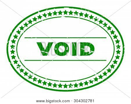 Grunge Green Void Word Oval Rubber Seal Stamp On White Background