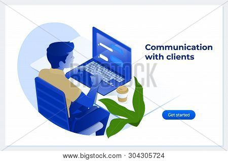 Handsome Man Is Working At His Laptop. Customer Centricity Reputation Management Concept Isometric V