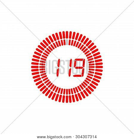 The 119 Seconds Icon Isolated On White Background. The 119 Seconds Icon Simple Sign. The 119 Seconds
