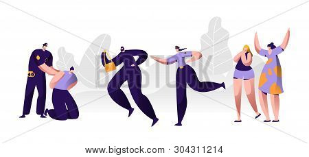 Police Officers At Work. Policeman Putting Handcuffs On Offender Hands, Woman Character Catching Up