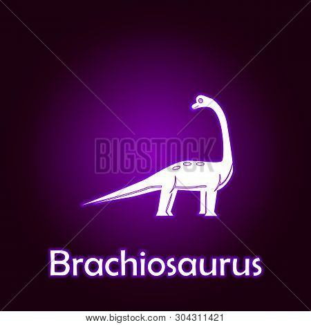 Brachiosaurus Outline Vector. Elements Of Dinosaurs Illustration In Neon Style Icon. Signs And Symbo