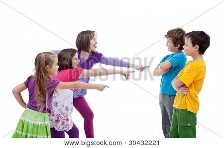 Girls mocking and making fun of boys - school bullying concept, isolated