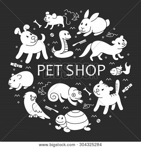 Pet Shop Silhouette, Types Of Pets In Circle Template, Cartoon Illustrations Animals In Line Style.