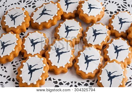 Decorative Gingerbread With A Ballerina On A Lace Napkin