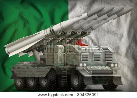 Tactical Short Range Ballistic Missile With Arctic Camouflage On The Algeria Flag Background. 3d Ill