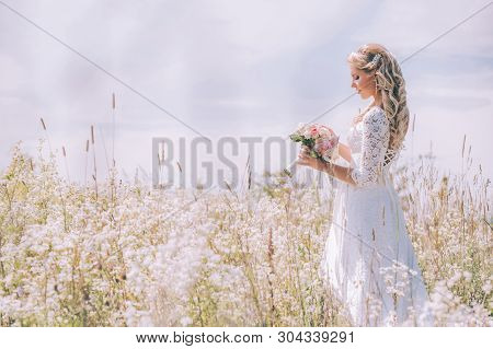 Bride In A White Lace Dress With An Open Back In A Field Of White Flowers. The Girl Holds A Delicate