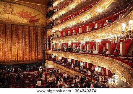 Bolshoi Theatre During The Intermission With Visitors. Historical Scene. Moscow. Russia. 30.05.2019