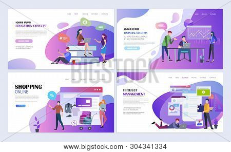 Landing Pages Template Set For Education, Business, Online Shopping, Project Management. Modern Flat