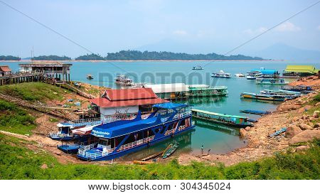 Talad Vientiane Province.may 21, 2019.fishing Village Pier, Nam Ngum 1 Reservoir, Laos