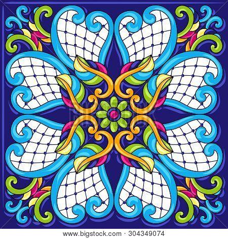 Mexican Talavera Ceramic Tile Pattern. Traditional Decorative Objects. Ethnic Folk Ornament. Decorat