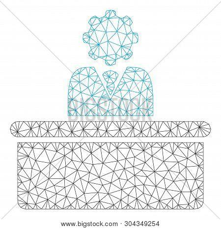 Mesh Bureaucrat Polygonal Icon Vector Illustration. Carcass Model Is Based On Bureaucrat Flat Icon.