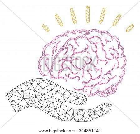Mesh Brain Education Offer Polygonal Icon Vector Illustration. Model Is Based On Brain Education Off