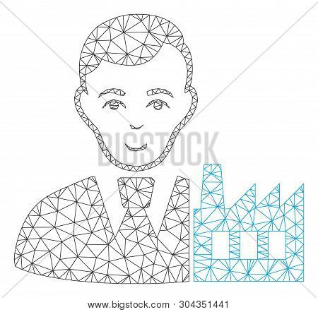 Mesh Capitalist Oligarch Polygonal Icon Vector Illustration. Carcass Model Is Created From Capitalis