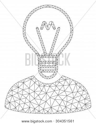 Mesh Bulb Inventor Polygonal Icon Vector Illustration. Abstraction Is Based On Bulb Inventor Flat Ic