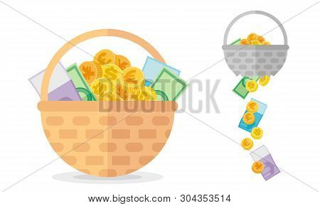 Basket With Coins And Banknotes And Broken One. Investment Concept About Necessary Of Diversificatio