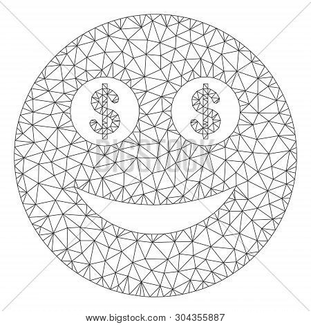 Mesh Business Smiley Polygonal 2d Vector Illustration. Carcass Model Is Based On Business Smiley Fla