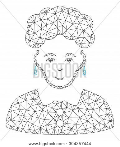 Mesh Brunette Woman Polygonal 2d Vector Illustration. Carcass Model Is Created From Brunette Woman F