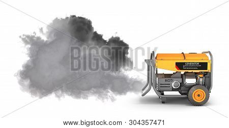 Ecology Concept Illustration Of Pollution By Exhaust Gases Portable Gasoline Generator Producing A L
