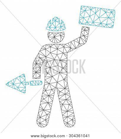Mesh Brickwork Builder Polygonal Icon Vector Illustration. Carcass Model Is Based On Brickwork Build