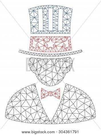 Mesh Capitalist Polygonal Icon Vector Illustration. Carcass Model Is Created From Capitalist Flat Ic
