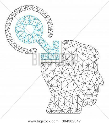 Mesh Brain Interface Plug-in Polygonal Icon Vector Illustration. Carcass Model Is Based On Brain Int