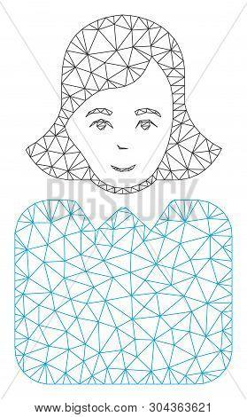 Mesh Bureaucrat Woman Polygonal Icon Vector Illustration. Carcass Model Is Based On Bureaucrat Woman