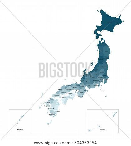Vector Isolated Illustration Of Simplified Administrative Map Of Japan. Borders And Names Of The Pre
