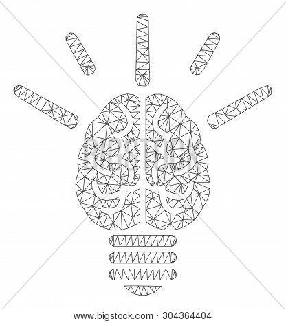 Mesh Brain Idea Bulb Polygonal Icon Vector Illustration. Carcass Model Is Based On Brain Idea Bulb F