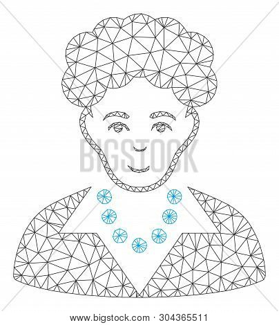 Mesh Brunette Woman Polygonal 2d Vector Illustration. Carcass Model Is Based On Brunette Woman Flat