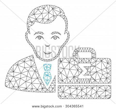 Mesh Bookkeeper Polygonal Icon Vector Illustration. Carcass Model Is Based On Bookkeeper Flat Icon.