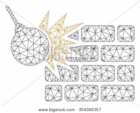 Mesh Brick Wall Destruction Polygonal Icon Vector Illustration. Model Is Created From Brick Wall Des