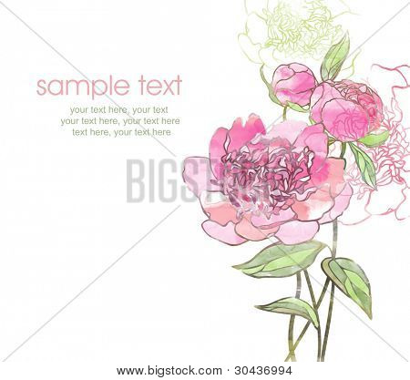 watercolor card with stylized peonies